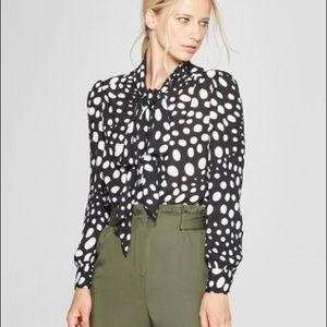 Polka Dot Long Sleeve Exaggerated Tie Neck Blouse